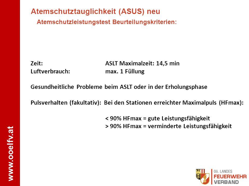 www.ooelfv.at Atemschutztauglichkeit (ASUS) neu Atemschutzleistungstest Beurteilungskriterien: Zeit:ASLT Maximalzeit: 14,5 min Luftverbrauch:max. 1 Fü