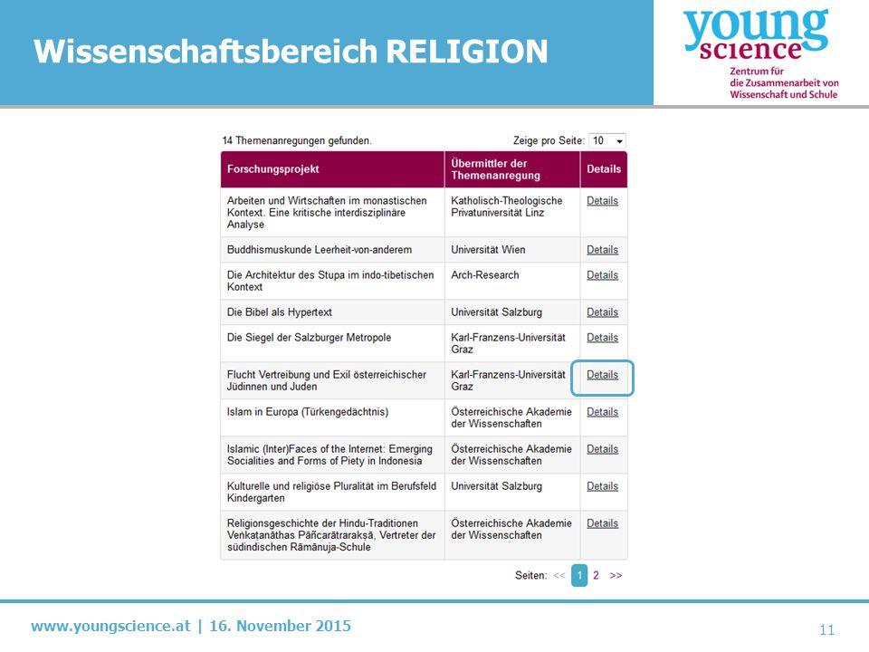 www.youngscience.at | 16. November 2015 Wissenschaftsbereich RELIGION 11