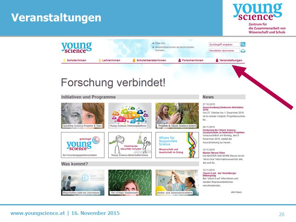 www.youngscience.at | 16. November 2015 Veranstaltungen 26