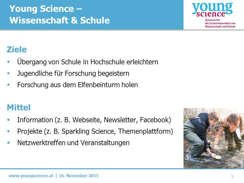 www.youngscience.at | 16. November 2015 Young Science – Wissenschaft & Schule Ziele  Übergang von Schule in Hochschule erleichtern  Jugendliche für