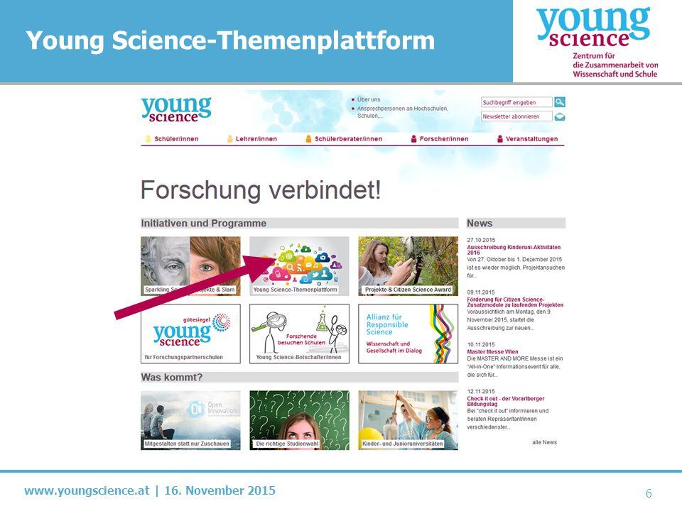 www.youngscience.at | 16.November 2015 Wie groß ist die Plattform.