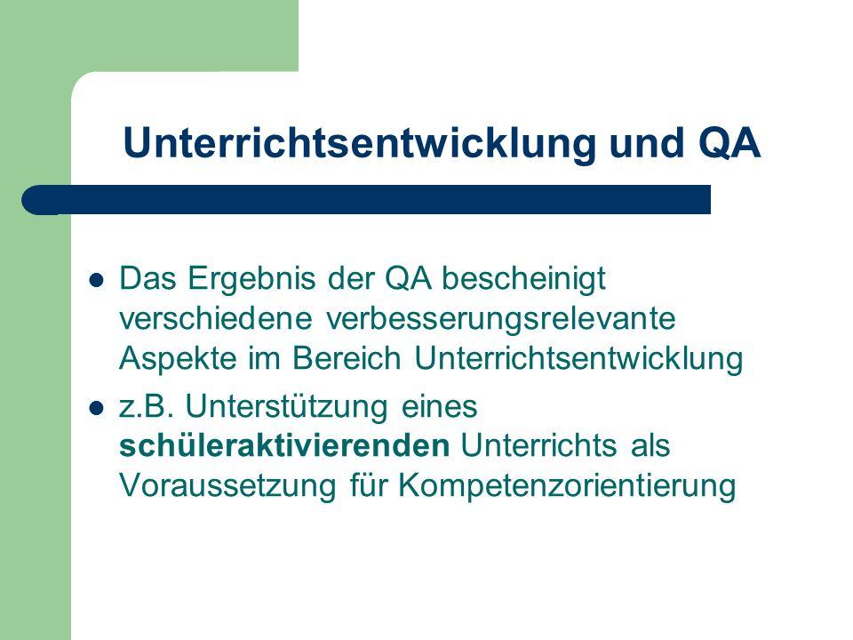 Unterrichtsentwicklung und QA Das Ergebnis der QA bescheinigt verschiedene verbesserungsrelevante Aspekte im Bereich Unterrichtsentwicklung z.B. Unter