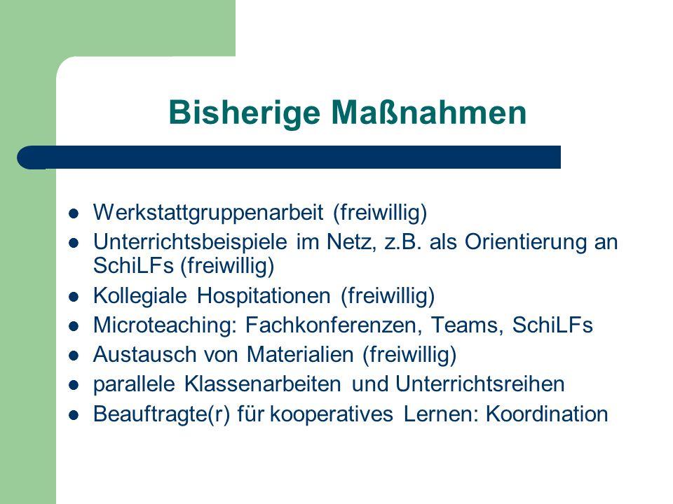 Bisherige Maßnahmen Werkstattgruppenarbeit (freiwillig) Unterrichtsbeispiele im Netz, z.B. als Orientierung an SchiLFs (freiwillig) Kollegiale Hospita