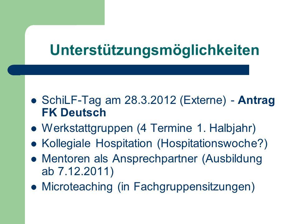 Unterstützungsmöglichkeiten SchiLF-Tag am 28.3.2012 (Externe) - Antrag FK Deutsch Werkstattgruppen (4 Termine 1. Halbjahr) Kollegiale Hospitation (Hos
