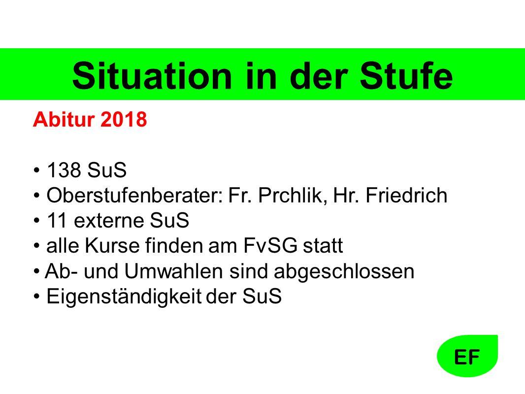 EF Situation in der Stufe Abitur 2018 138 SuS Oberstufenberater: Fr.