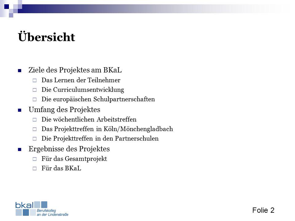 Folie 2 Übersicht Ziele des Projektes am BKaL  Das Lernen der Teilnehmer  Die Curriculumsentwicklung  Die europäischen Schulpartnerschaften Umfang des Projektes  Die wöchentlichen Arbeitstreffen  Das Projekttreffen in Köln/Mönchengladbach  Die Projekttreffen in den Partnerschulen Ergebnisse des Projektes  Für das Gesamtprojekt  Für das BKaL