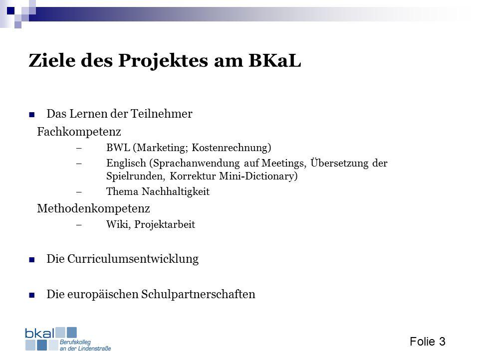 Folie 3 Ziele des Projektes am BKaL Das Lernen der Teilnehmer Fachkompetenz – BWL (Marketing; Kostenrechnung) – Englisch (Sprachanwendung auf Meetings