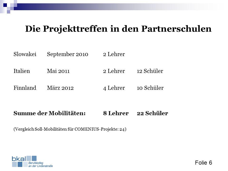 Folie 6 Die Projekttreffen in den Partnerschulen SlowakeiSeptember 20102 Lehrer ItalienMai 20112 Lehrer12 Schüler FinnlandMärz 20124 Lehrer10 Schüler