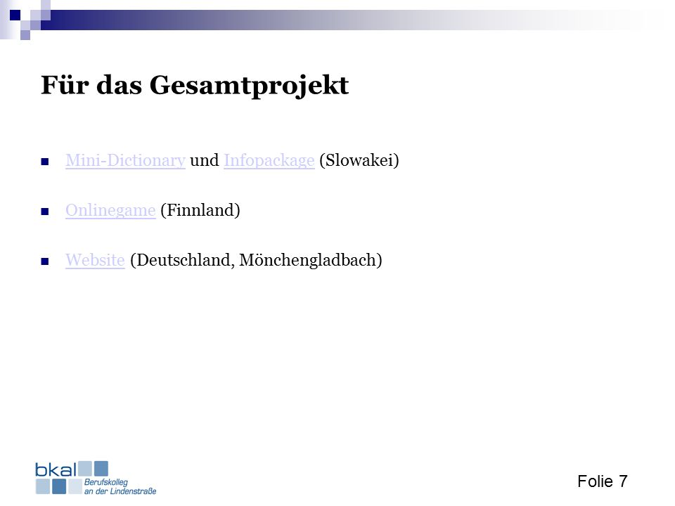 Folie 7 Für das Gesamtprojekt Mini-Dictionary und Infopackage (Slowakei) Mini-DictionaryInfopackage Onlinegame (Finnland) Onlinegame Website (Deutschl