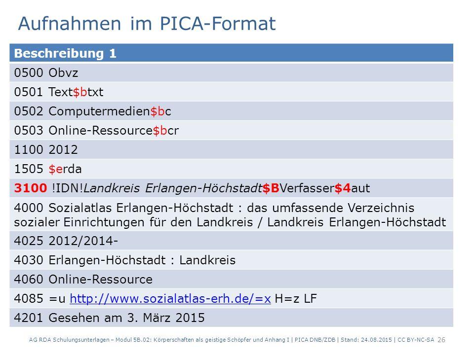 Aufnahmen im PICA-Format AG RDA Schulungsunterlagen – Modul 5B.02: Körperschaften als geistige Schöpfer und Anhang I | PICA DNB/ZDB | Stand: 24.08.201