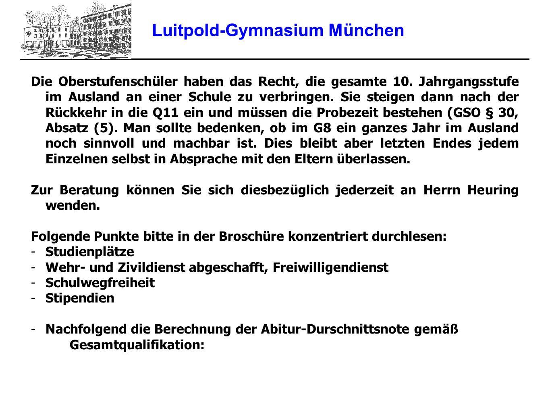 Luitpold-Gymnasium München Die Oberstufenschüler haben das Recht, die gesamte 10. Jahrgangsstufe im Ausland an einer Schule zu verbringen. Sie steigen