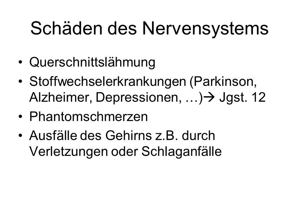 Schäden des Nervensystems Querschnittslähmung Stoffwechselerkrankungen (Parkinson, Alzheimer, Depressionen, …)  Jgst. 12 Phantomschmerzen Ausfälle de