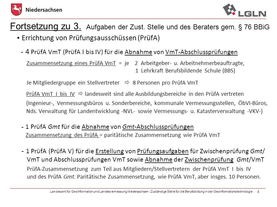 Landesamt für Geoinformation und Landesvermessung Niedersachsen - Zuständige Stelle für die Berufsbildung in der Geoinformationstechnologie 8 Fortsetz