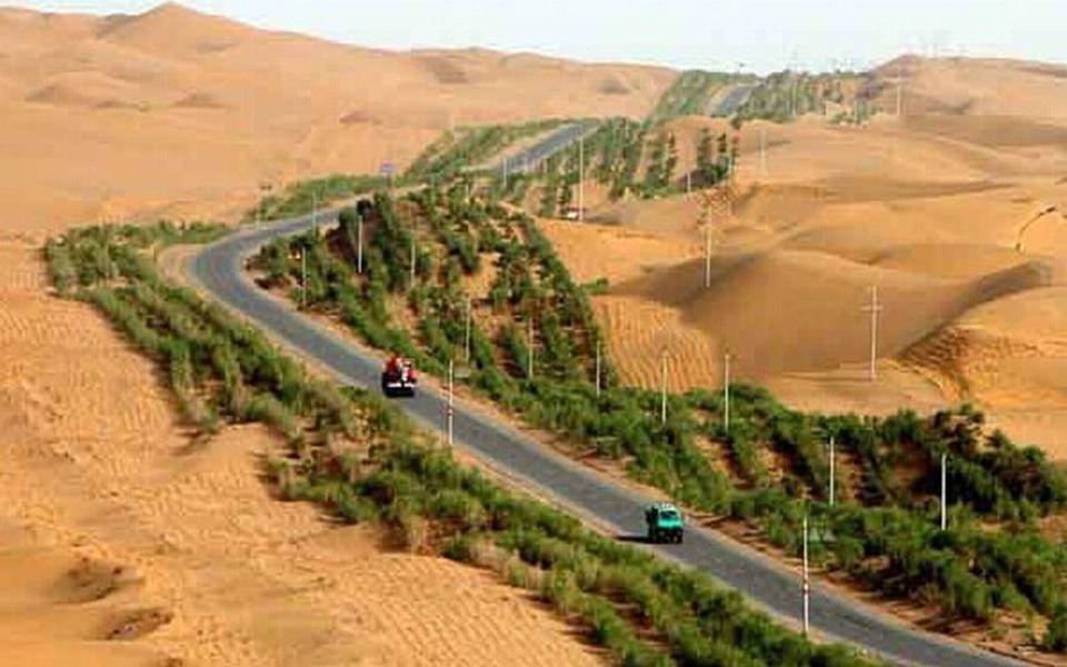 Die Straße verbindet die Städte Luntai und Minfeng am nördlichen und südlichen Ende der Wüste. Von der Gesamtlänge der Strecke mit 552 km liegen 446 k