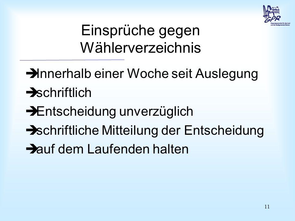 11 Einsprüche gegen Wählerverzeichnis  Innerhalb einer Woche seit Auslegung  schriftlich  Entscheidung unverzüglich  schriftliche Mitteilung der E