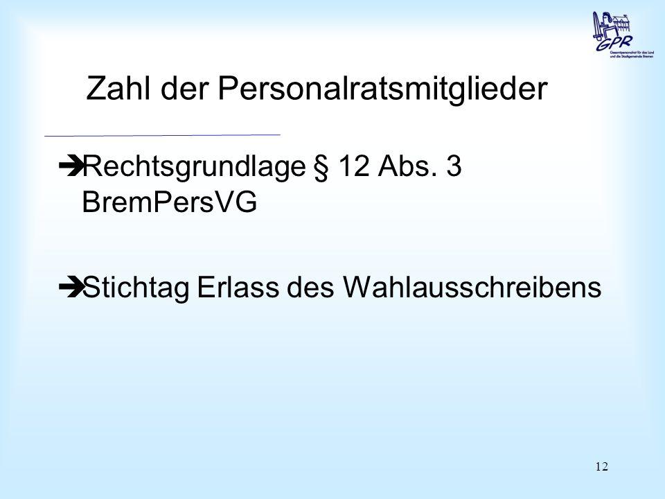 12 Zahl der Personalratsmitglieder  Rechtsgrundlage § 12 Abs.