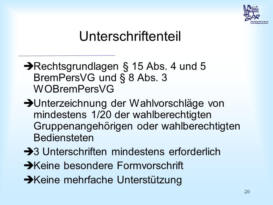 20 Unterschriftenteil  Rechtsgrundlagen § 15 Abs.
