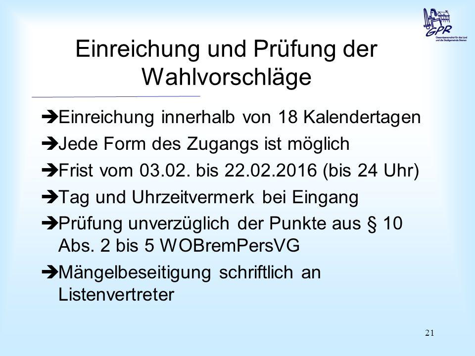 21 Einreichung und Prüfung der Wahlvorschläge  Einreichung innerhalb von 18 Kalendertagen  Jede Form des Zugangs ist möglich  Frist vom 03.02. bis