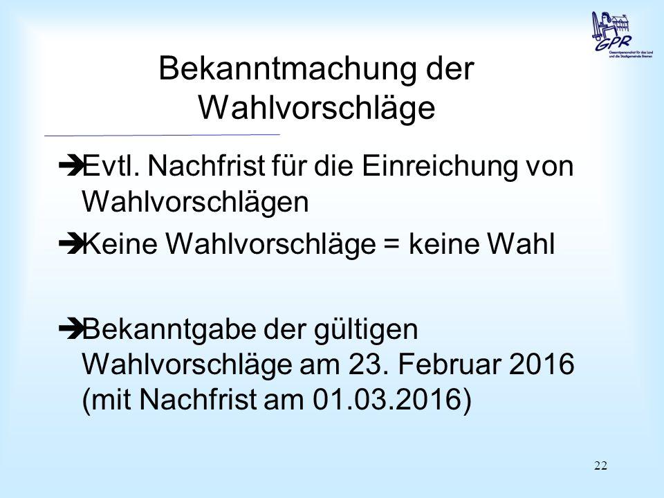 22 Bekanntmachung der Wahlvorschläge  Evtl.