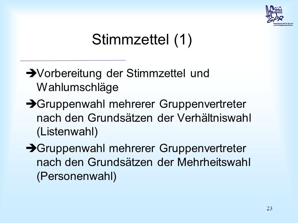 23 Stimmzettel (1)  Vorbereitung der Stimmzettel und Wahlumschläge  Gruppenwahl mehrerer Gruppenvertreter nach den Grundsätzen der Verhältniswahl (L