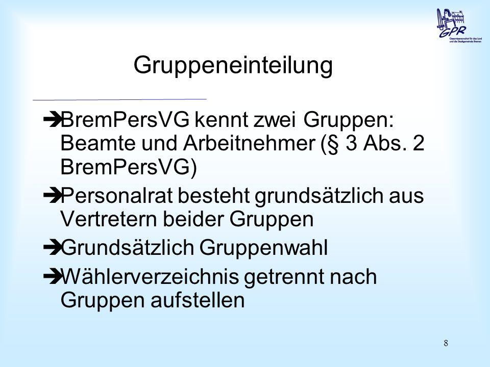 8 Gruppeneinteilung  BremPersVG kennt zwei Gruppen: Beamte und Arbeitnehmer (§ 3 Abs. 2 BremPersVG)  Personalrat besteht grundsätzlich aus Vertreter