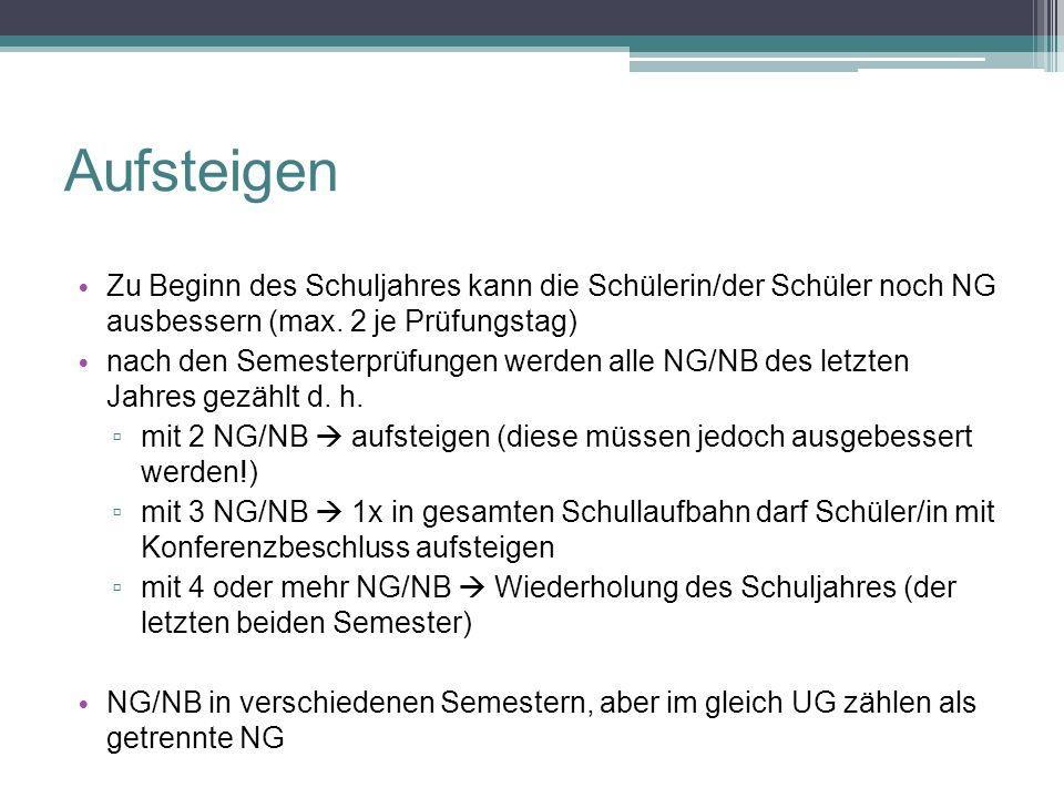 Zu Beginn des Schuljahres kann die Schülerin/der Schüler noch NG ausbessern (max. 2 je Prüfungstag) nach den Semesterprüfungen werden alle NG/NB des l