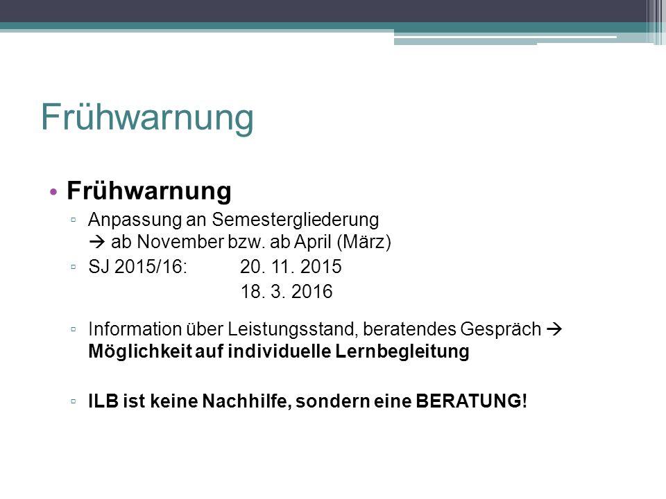Frühwarnung 1/2 Frühwarnung ▫ Anpassung an Semestergliederung  ab November bzw. ab April (März) ▫ SJ 2015/16: 20. 11. 2015 18. 3. 2016 ▫ Information