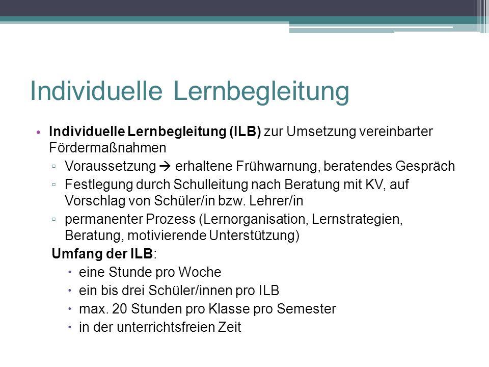 Individuelle Lernbegleitung Individuelle Lernbegleitung (ILB) zur Umsetzung vereinbarter Fördermaßnahmen ▫ Voraussetzung  erhaltene Frühwarnung, bera