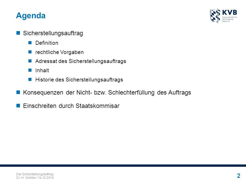 Der Sicherstellungsauftrag Dr. H. Schiller / 14.12.2015 2 Agenda Sicherstellungsauftrag Definition rechtliche Vorgaben Adressat des Sicherstellungsauf