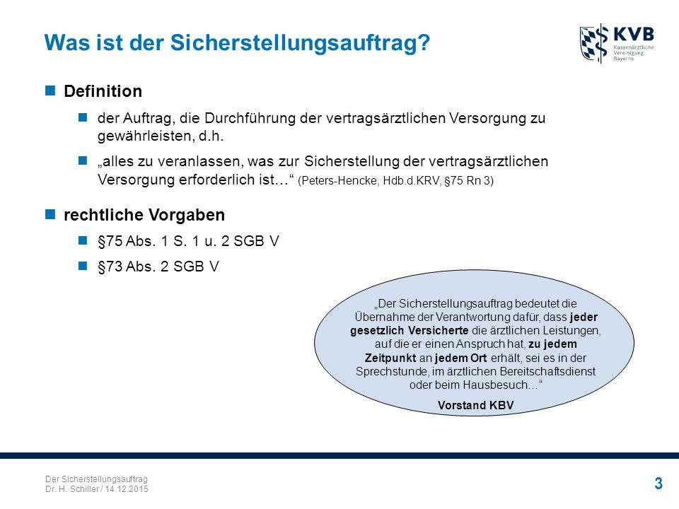 Der Sicherstellungsauftrag Dr. H. Schiller / 14.12.2015 3 Was ist der Sicherstellungsauftrag? Definition der Auftrag, die Durchführung der vertragsärz