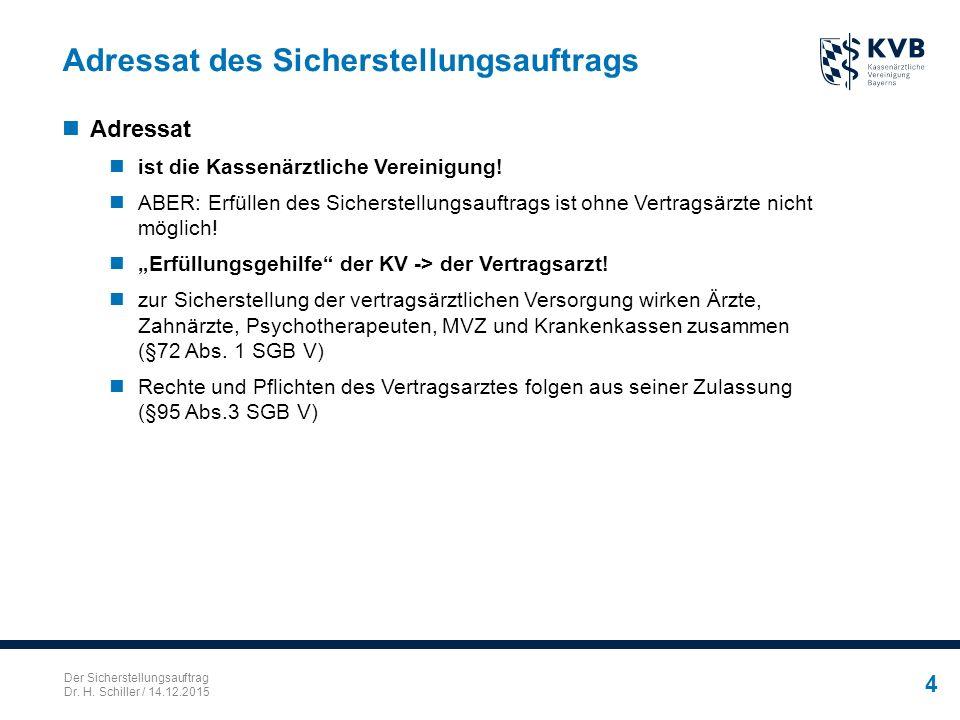 Der Sicherstellungsauftrag Dr. H. Schiller / 14.12.2015 4 Adressat des Sicherstellungsauftrags Adressat ist die Kassenärztliche Vereinigung! ABER: Erf