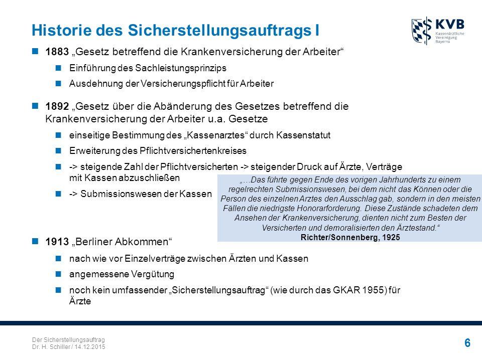 """Der Sicherstellungsauftrag Dr. H. Schiller / 14.12.2015 6 Historie des Sicherstellungsauftrags I 1883 """"Gesetz betreffend die Krankenversicherung der A"""