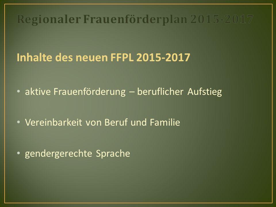 Inhalte des neuen FFPL 2015-2017 aktive Frauenförderung – beruflicher Aufstieg Vereinbarkeit von Beruf und Familie gendergerechte Sprache