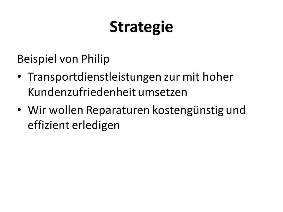Strategie Beispiel von Philip Transportdienstleistungen zur mit hoher Kundenzufriedenheit umsetzen Wir wollen Reparaturen kostengünstig und effizient