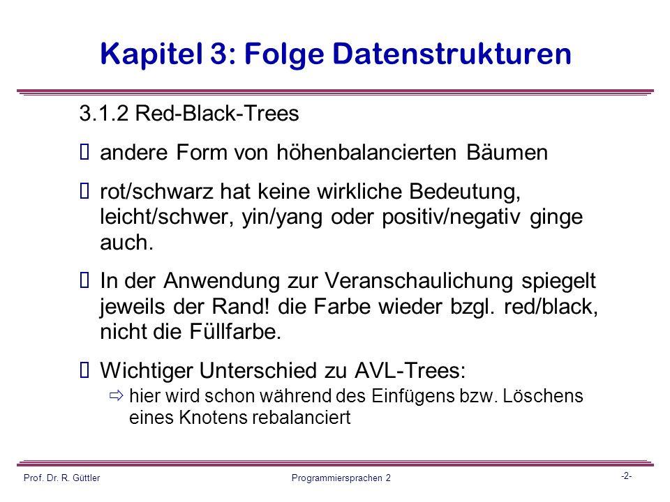 Programmiersprachen II Fortsetzung Datenstrukturen Balancierte Bäume 2 Prof.