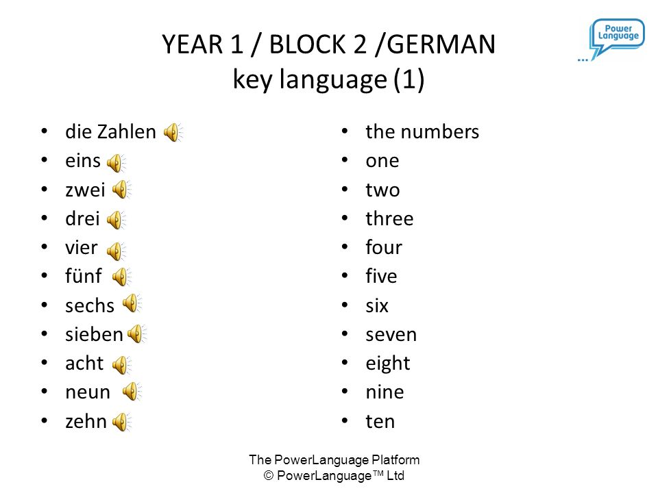 The PowerLanguage Platform © PowerLanguage™ Ltd KEY LANGUAGE YEAR 1 / BLOCK 2 German