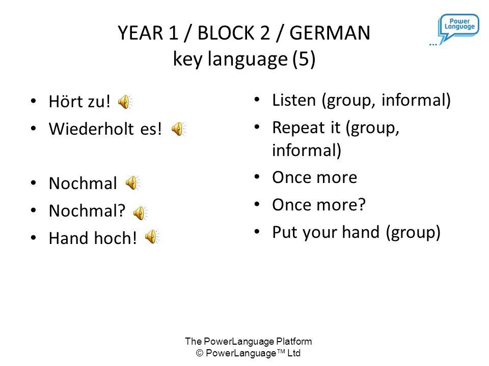 The PowerLanguage Platform © PowerLanguage™ Ltd YEAR 1 / BLOCK 2 / GERMAN key language (5) Hört zu.