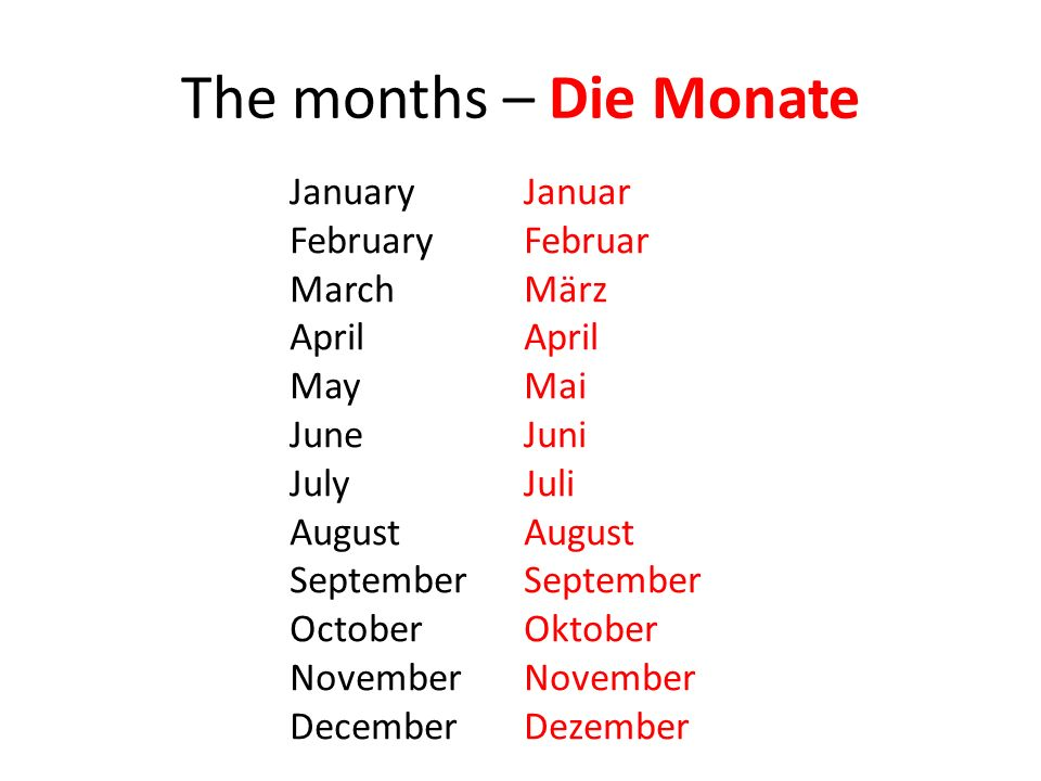 The months – Die Monate January February March April May June July August September October November December Januar Februar März April Mai Juni Juli August September Oktober November Dezember