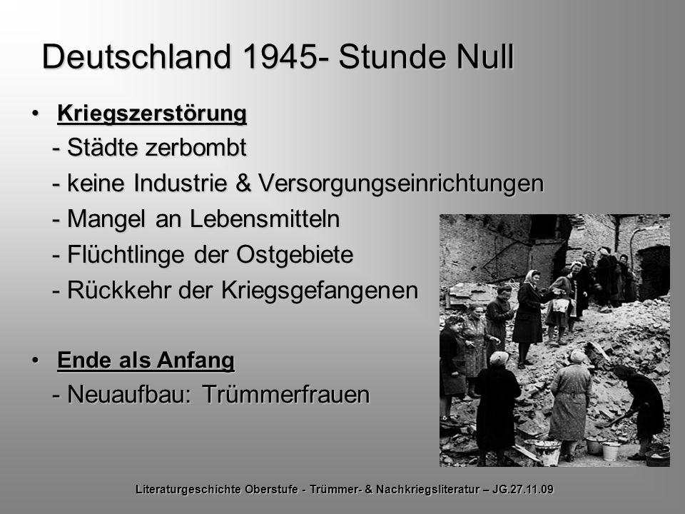 Deutschland 1945- Stunde Null KriegszerstörungKriegszerstörung - Städte zerbombt - Städte zerbombt - keine Industrie & Versorgungseinrichtungen - kein