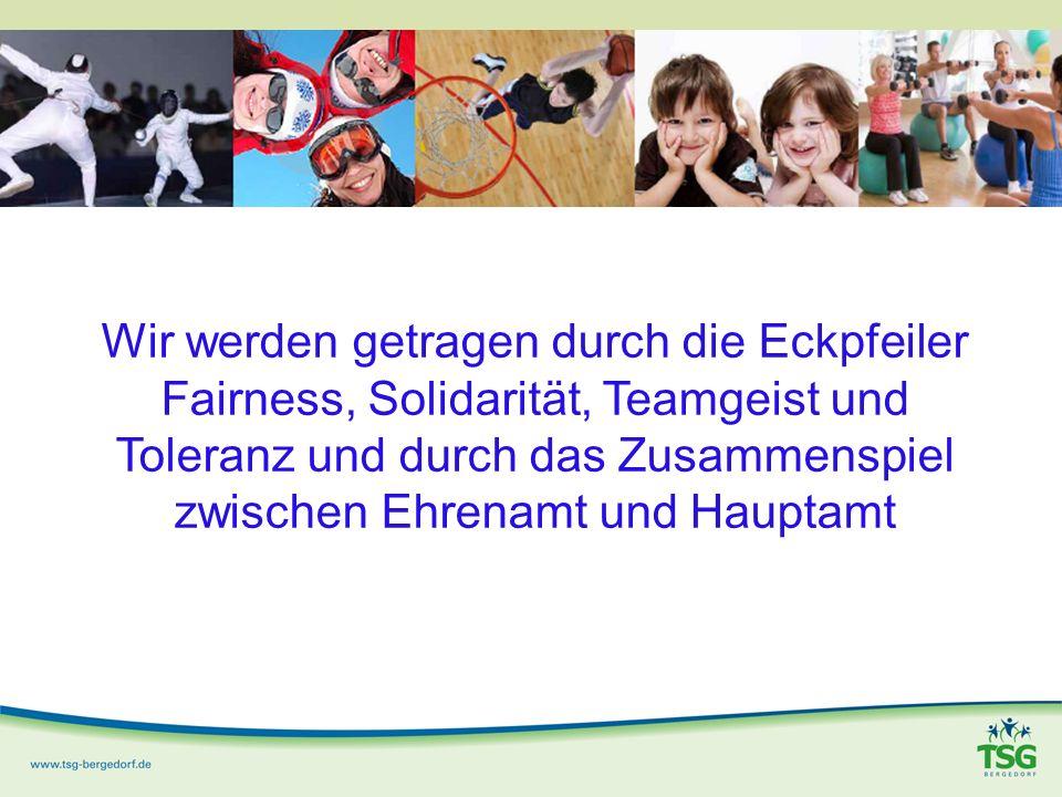 Wir werden getragen durch die Eckpfeiler Fairness, Solidarität, Teamgeist und Toleranz und durch das Zusammenspiel zwischen Ehrenamt und Hauptamt