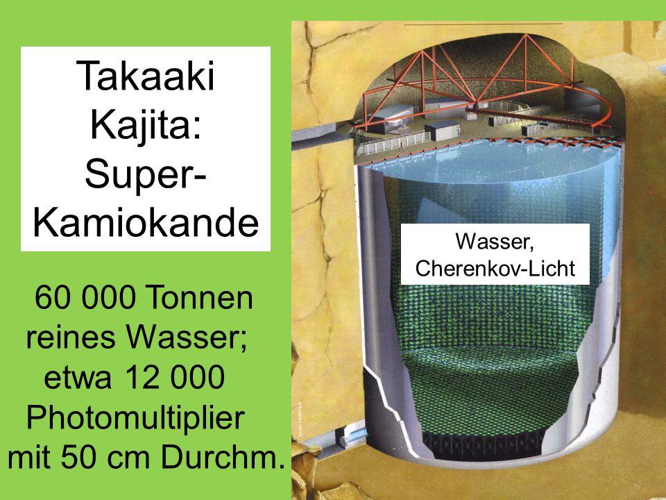 Takaaki Kajita: Super- Kamiokande 60 000 Tonnen reines Wasser; etwa 12 000 Photomultiplier mit 50 cm Durchm.