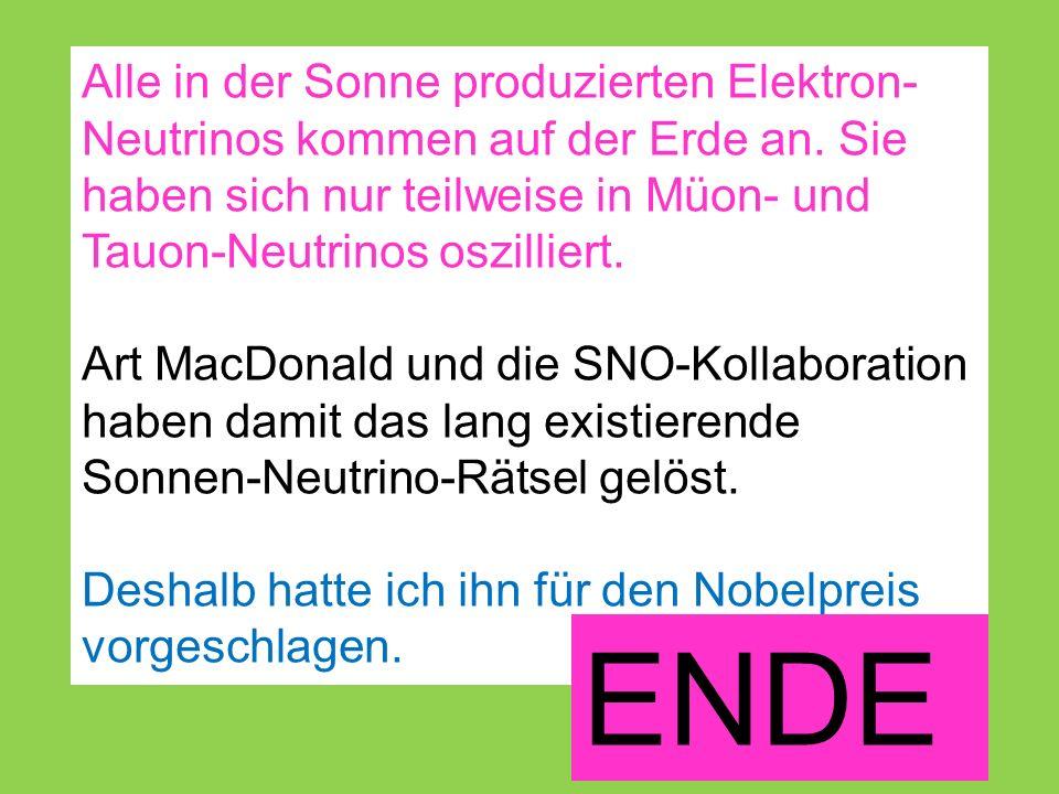 Alle in der Sonne produzierten Elektron- Neutrinos kommen auf der Erde an.