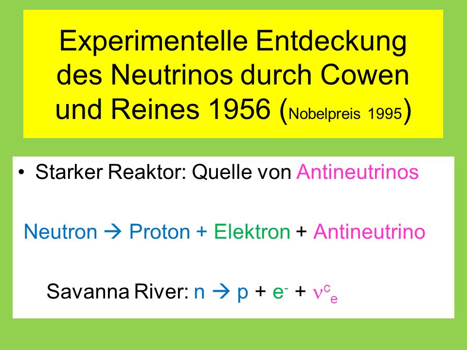 Experimentelle Entdeckung des Neutrinos durch Cowen und Reines 1956 ( Nobelpreis 1995 ) Starker Reaktor: Quelle von Antineutrinos Neutron  Proton + Elektron + Antineutrino Savanna River: n  p + e - + c e