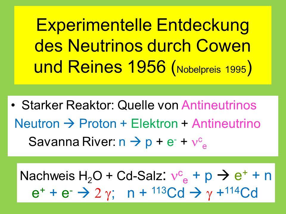 Experimentelle Entdeckung des Neutrinos durch Cowen und Reines 1956 ( Nobelpreis 1995 ) Starker Reaktor: Quelle von Antineutrinos Neutron  Proton + Elektron + Antineutrino Savanna River: n  p + e - + c e Nachweis H 2 O + Cd-Salz : c e + p  e + + n e + + e -   ; n + 113 Cd   + 114 Cd