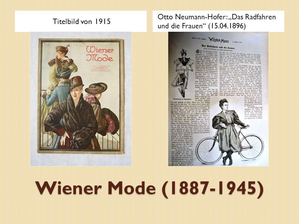 """Wiener Mode (1887-1945) Titelbild von 1915 Otto Neumann-Hofer: """"Das Radfahren und die Frauen"""" (15.04.1896)"""