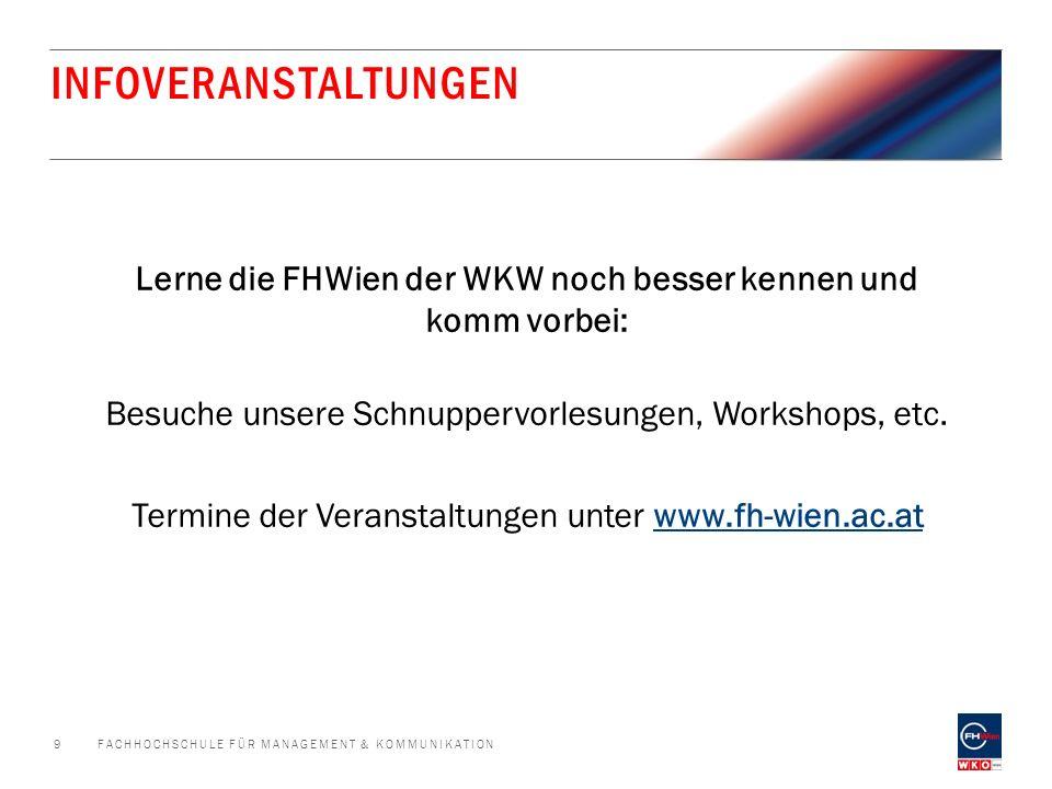 SIE FINDEN UNS AUCH UNTER … FACHHOCHSCHULE FÜR MANAGEMENT & KOMMUNIKATION10 facebook.com/FHWien twitter.com/fhwienAT Google+ (FHWien der WKW) xing.com/net/fhwiengruppe youtube.com/user/FHWien Picasaweb.google.com
