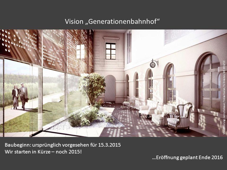 """Vision """"Generationenbahnhof Baubeginn: ursprünglich vorgesehen für 15.3.2015 Wir starten in Kürze – noch 2015."""