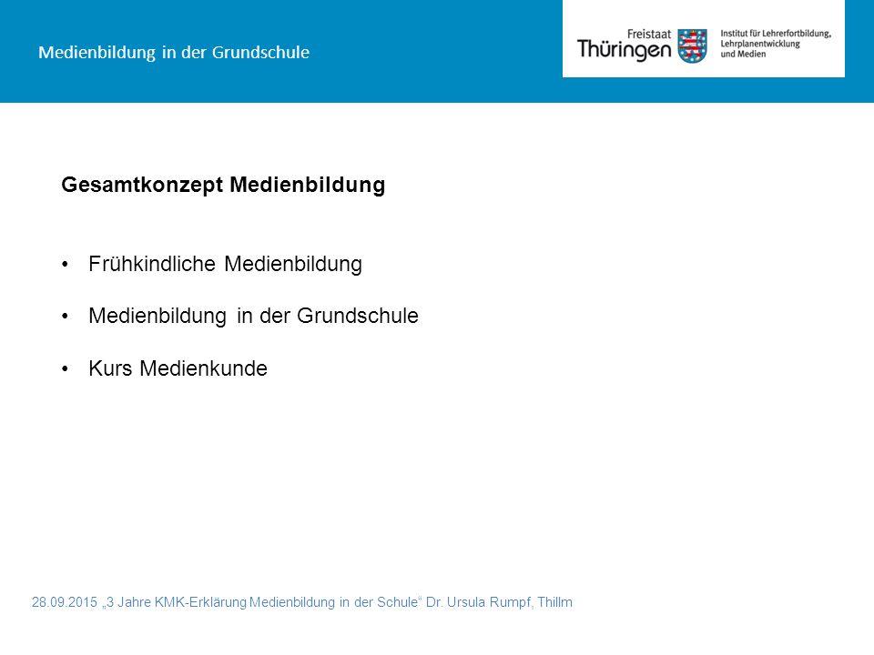 """28.09.2015 """"3 Jahre KMK-Erklärung Medienbildung in der Schule"""" Dr. Ursula Rumpf, Thillm Medienbildung in der Grundschule Gesamtkonzept Medienbildung F"""