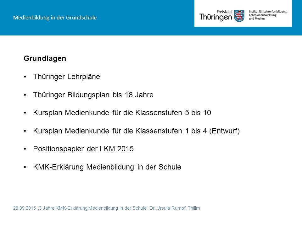 """28.09.2015 """"3 Jahre KMK-Erklärung Medienbildung in der Schule"""" Dr. Ursula Rumpf, Thillm Medienbildung in der Grundschule Grundlagen Thüringer Lehrplän"""