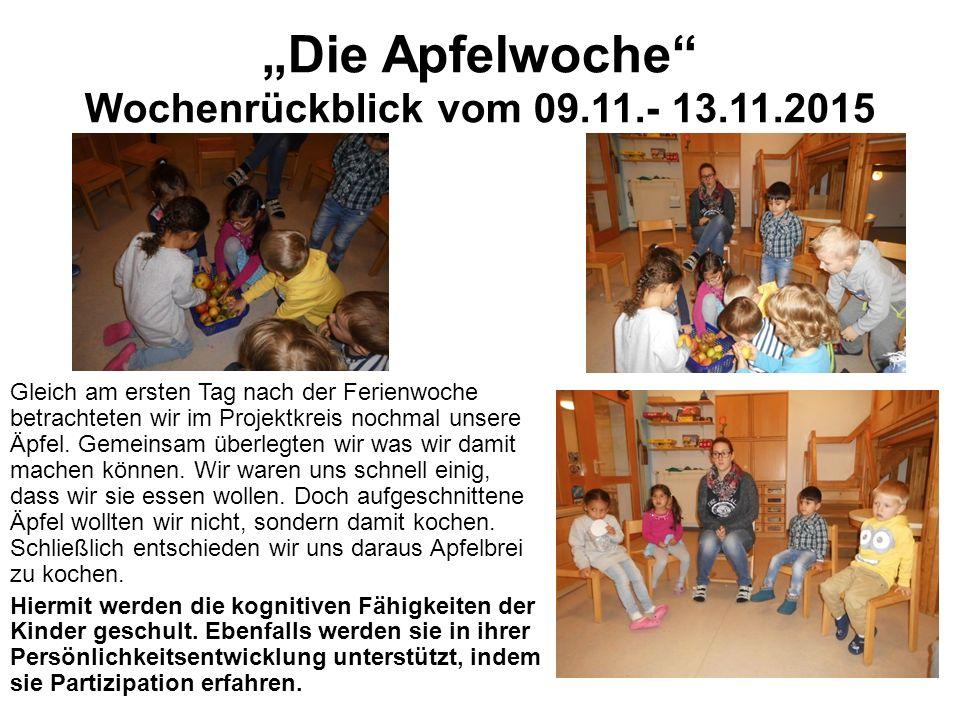 """""""Die Apfelwoche Wochenrückblick vom 09.11.- 13.11.2015 Gleich am ersten Tag nach der Ferienwoche betrachteten wir im Projektkreis nochmal unsere Äpfel."""
